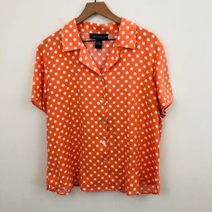 Susan Graver Polka Dot Short Sleeve Button Up